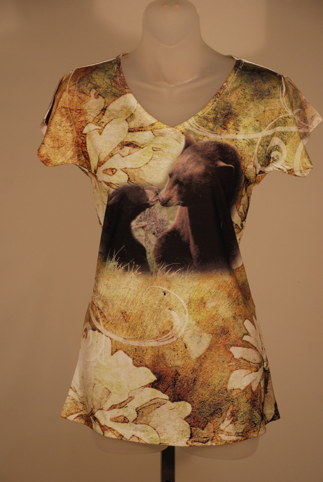 Women's Bear love long shirt/tunic - gold and green fashion t-shirt with bear nature art