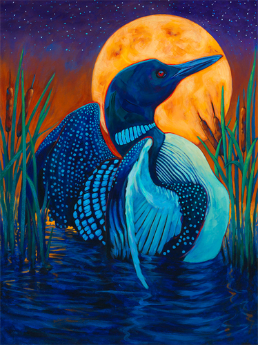 Full Moon Loon- painting of loon swimming in front of full moon