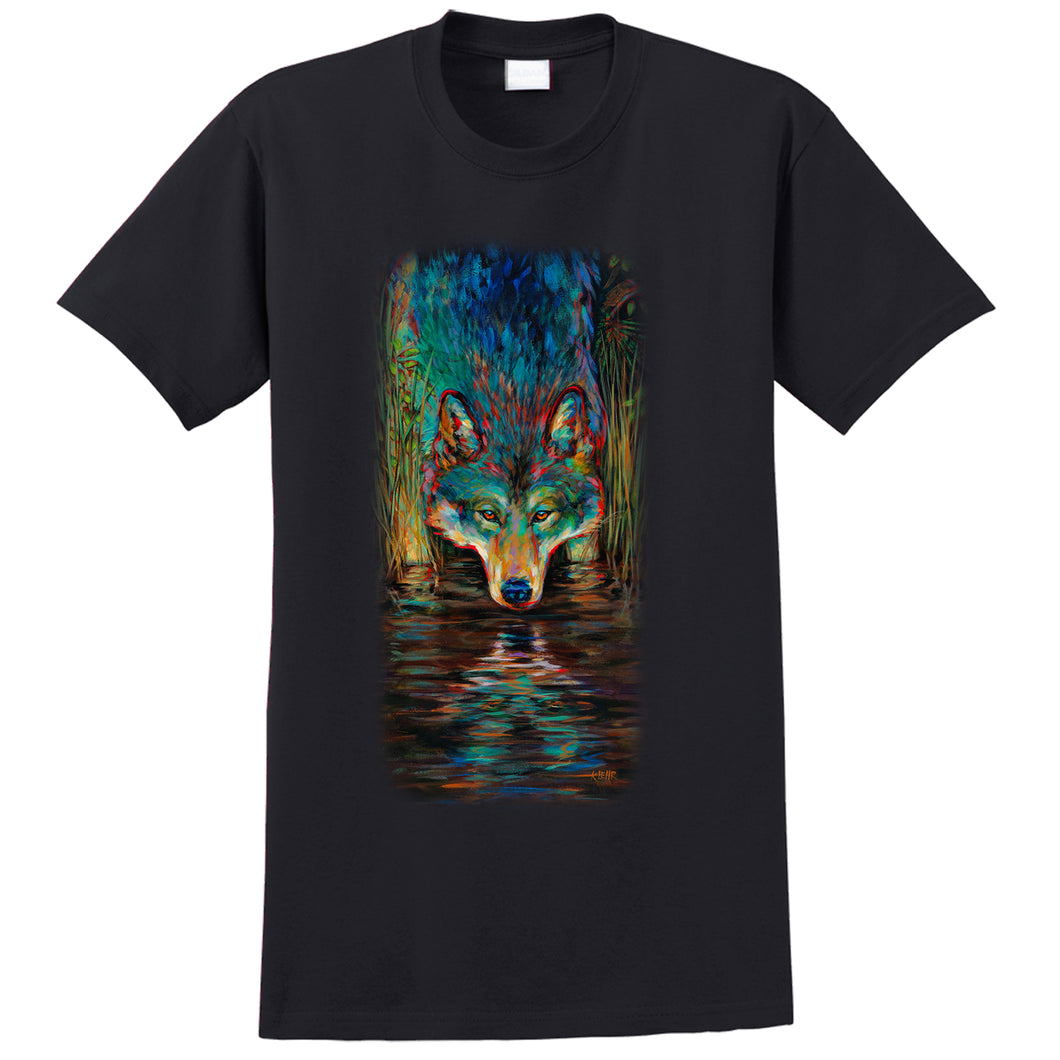 Greywolf T-Shit - black t-shirt with wolf art by Canadian nature artist Kari Lehr