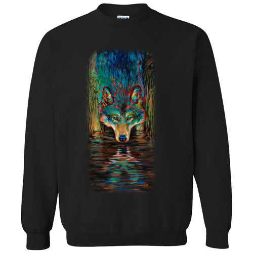 Grey Wolf Crew neck sweater- black sweater with wolf artwork by Kari Lehr