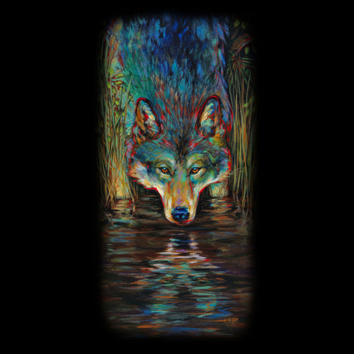 Grey Wolf Kari Lehr - painting of a grey wolf looking at it's reflection