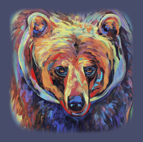 Grizzly Pride by Kari Lehr- colourful painting of grizzly bear head and shoulders