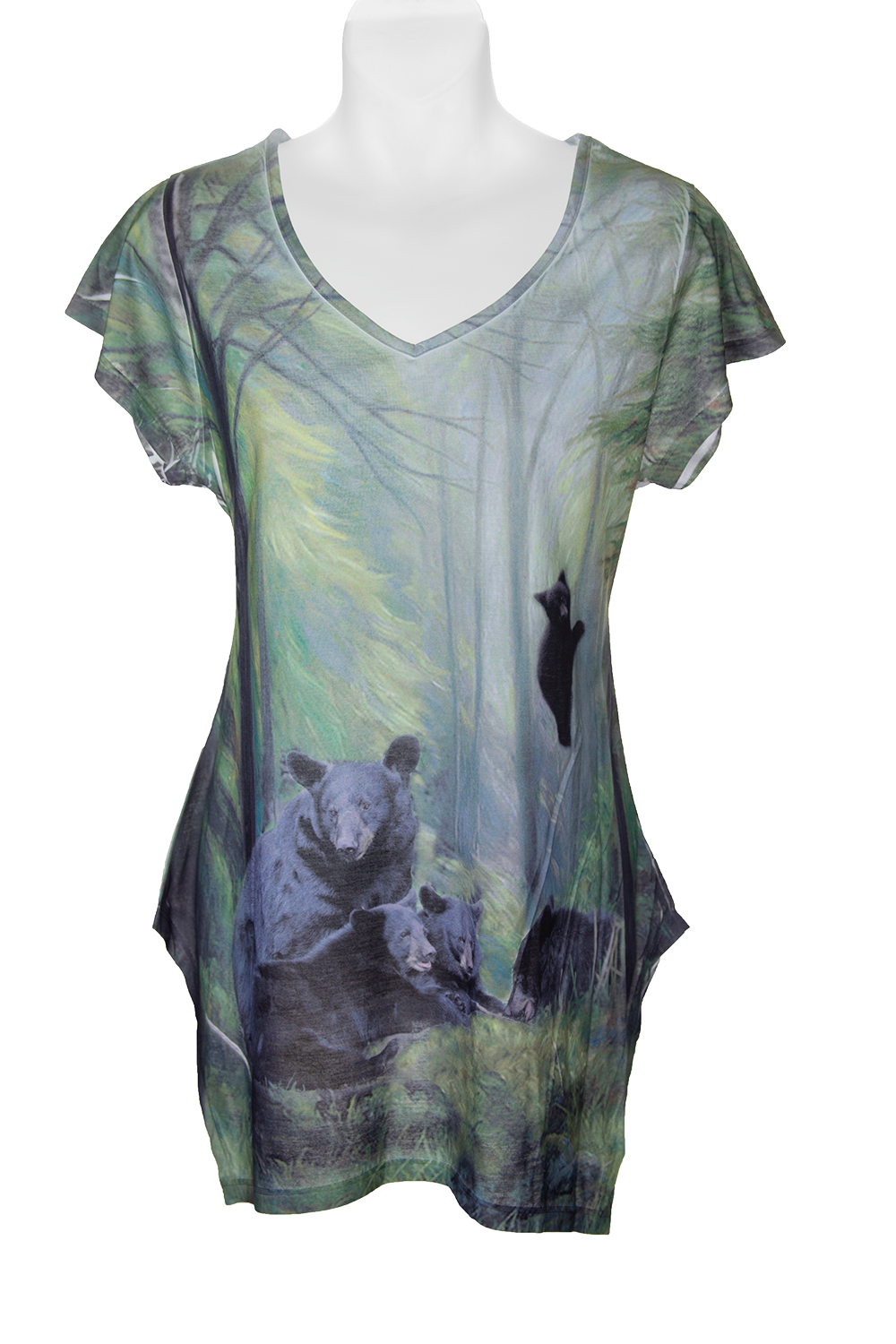 Women's Family Meeting fashion shirt - shades of green t-shirt with bear nature art