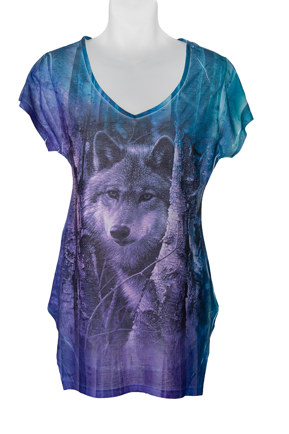 Waiting Wolf Women's Fashion T-shirt- multicolour t-shirt with art of a wolf in the trees sublimated on the front and back
