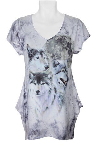 Wolf Trio Women's Fashion T-shirt- White t-shirt with art of 3 wolves sublimated on the front and back