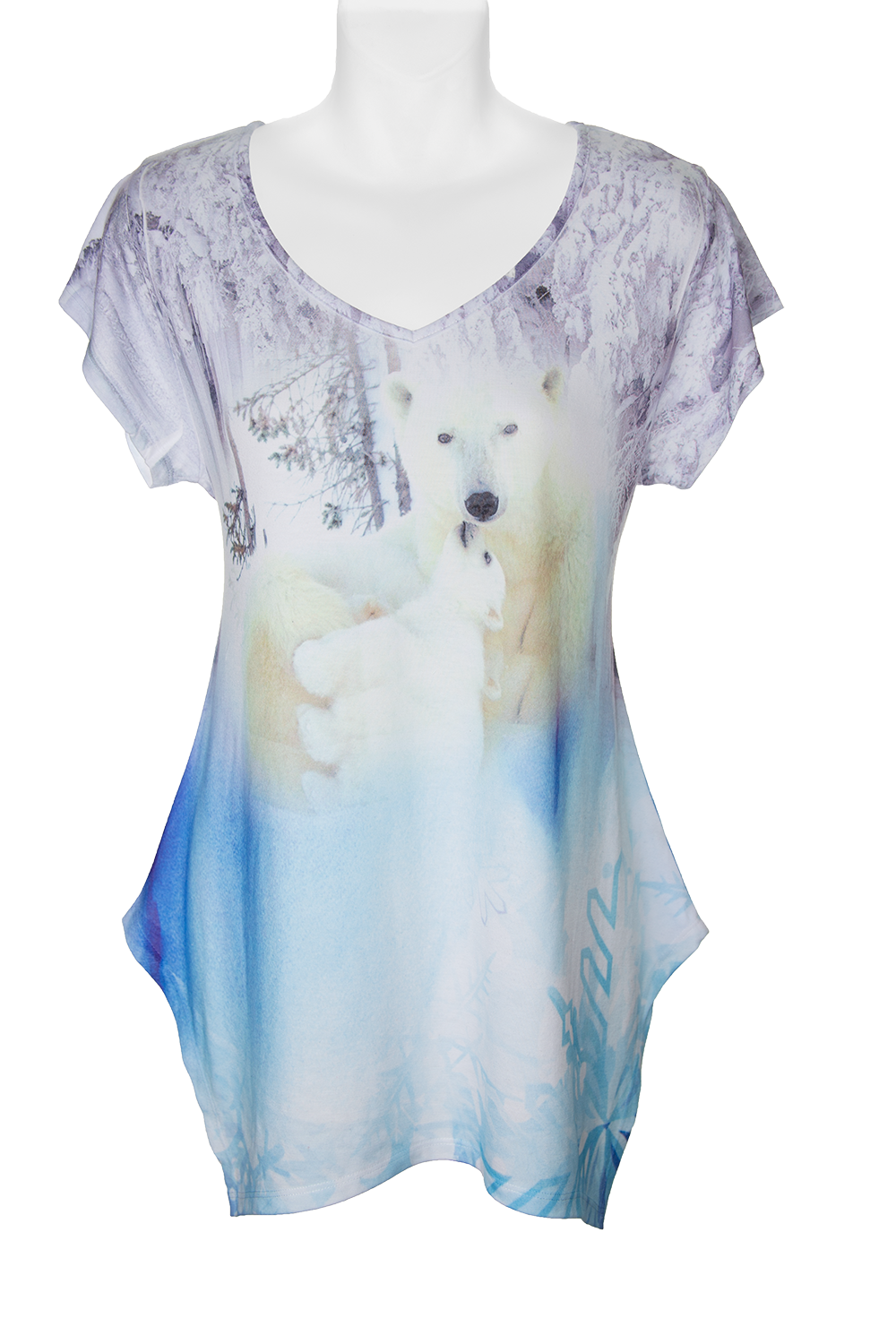 Devoted Polar Bear Women's Fashion Shirt- fashion t-shirt sublimated with polar bear mom and cub design