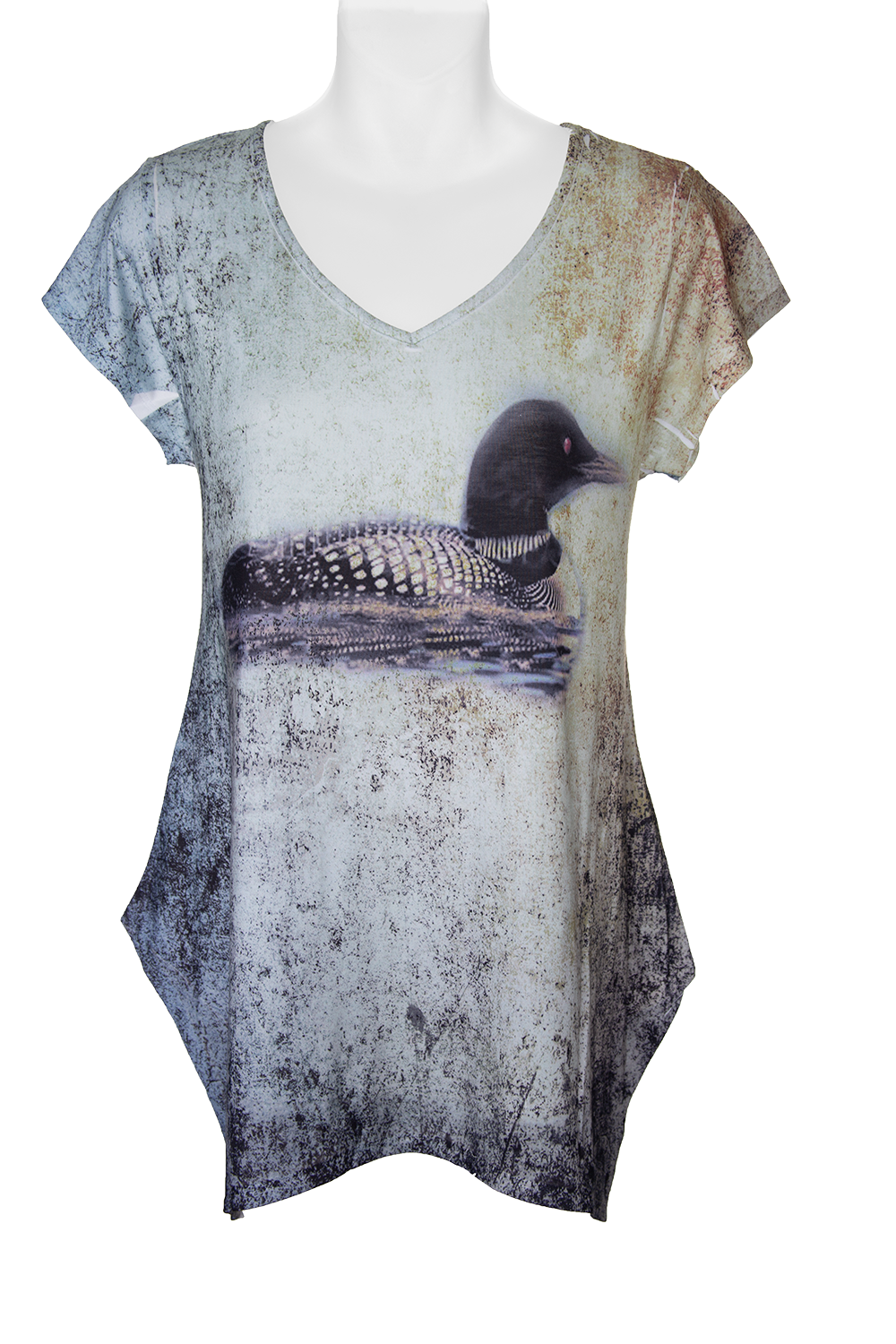 Lonely Loon Fashion T-shirt- Women's earth-tone t-shirt sublimated with art of loon on the lake