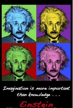 Imagine Einstein - painting of four different coloured faces of Einstein