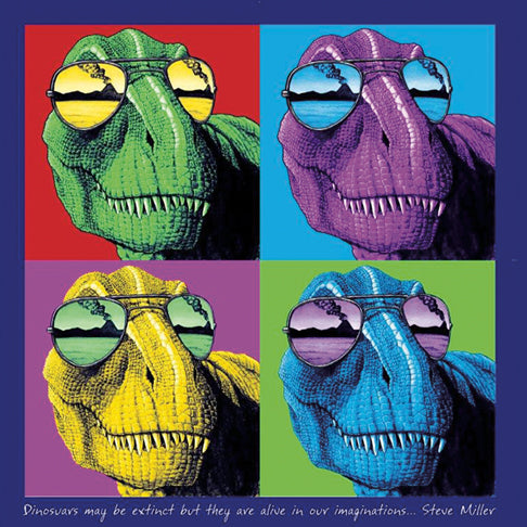Imagine T-Rex - painting of four colorful dinosaurs with sunglasses