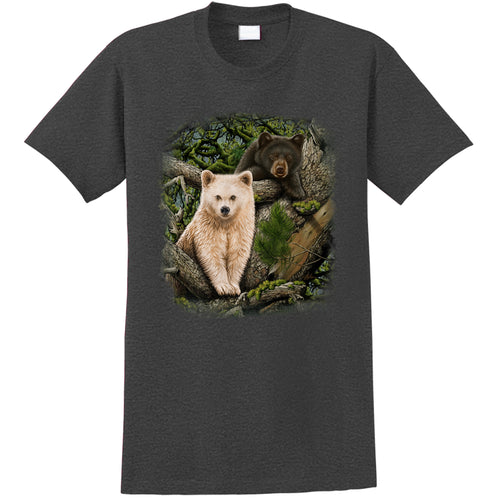 Kermode Brothers Tee- Charcoal heather t-shirt with bear cub nature art