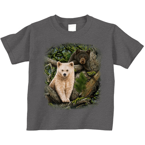 Kermode Brothers Child tee- Charcoal heather t-shirt with bear cub nature art