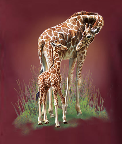 Mother And Baby - painting of mom and baby giraffe