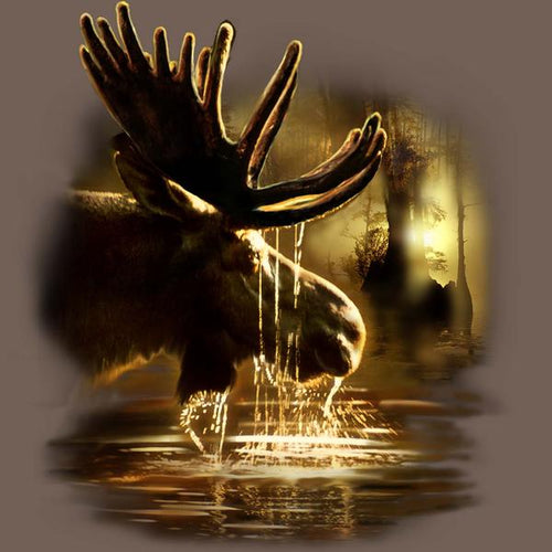 Moose Reflections by Tami Alba - painting of bull moose drinking from a lake