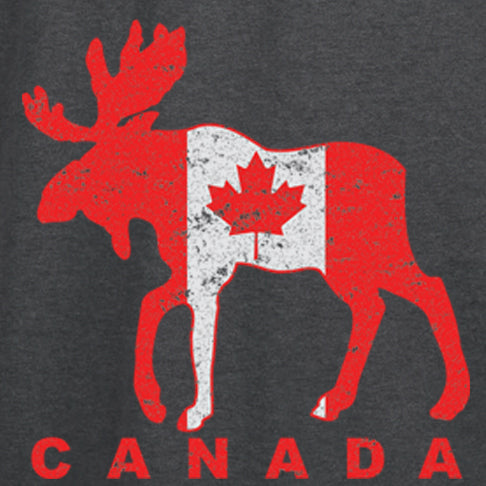 Moose Flag - painting of a moose covered in a Canadian flag