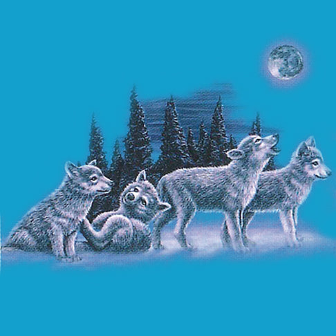 Moonlit Pups - painting of wolf pups playing in the snow