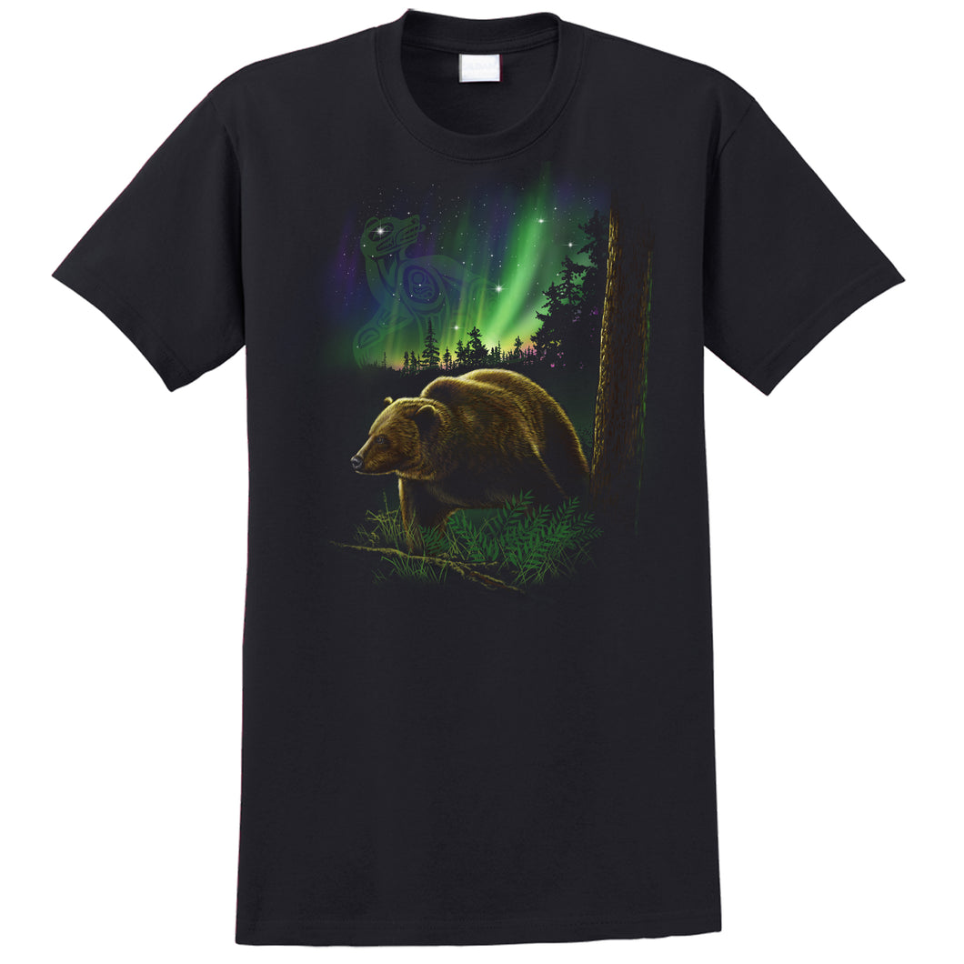 Native Grizzly Bear T-shirt - black T-shirt with grizzly bear in the woods with Northern Lights and native symbol by Canadian artist Eric Blais