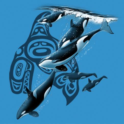 Native Orca's Diving by Eric Blais - painting of orca whales diving with the native symbol in the background