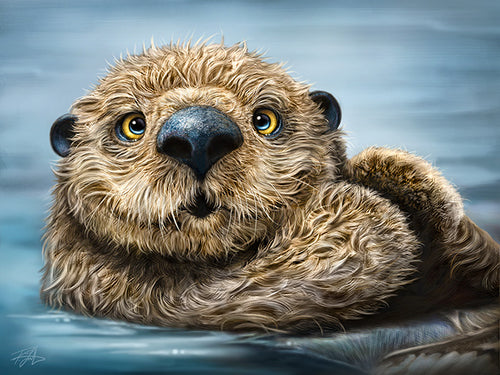 Otter Totem by Patrick LaMontagne - painting of cute otter floating in the water