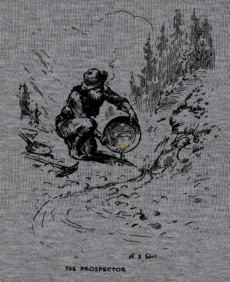 Prospecr Gold Rush - painting of a prospector panning for gold