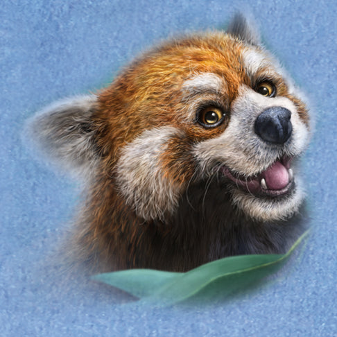 Red Panda Totem by Patrick LaMontagne - painting of a cute red panda smiling