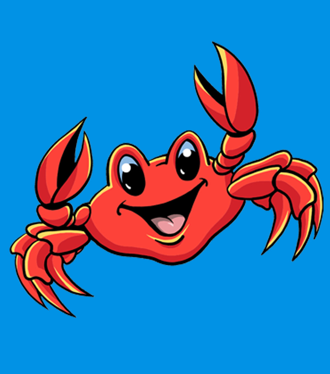 Smiley Crab- Cute artwork of smiling cartoon crab