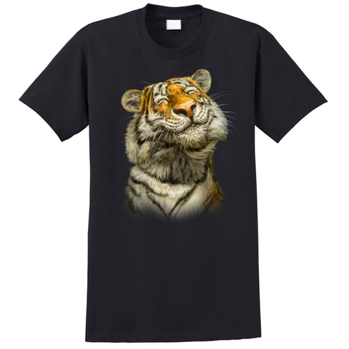 Smiling Tiger - black t-shirt with tiger art by Canadian artist Patrick LaMontagne