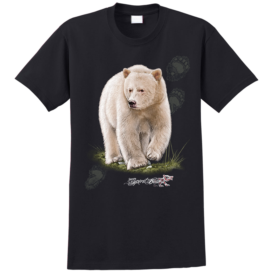 Spirit Bear T-shirt - black T-shirt with spirit bear art by artist Eric Blais