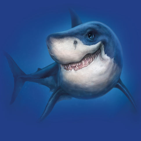 Shark Totem by Patrick LaMontagne - painting of a smiling shark