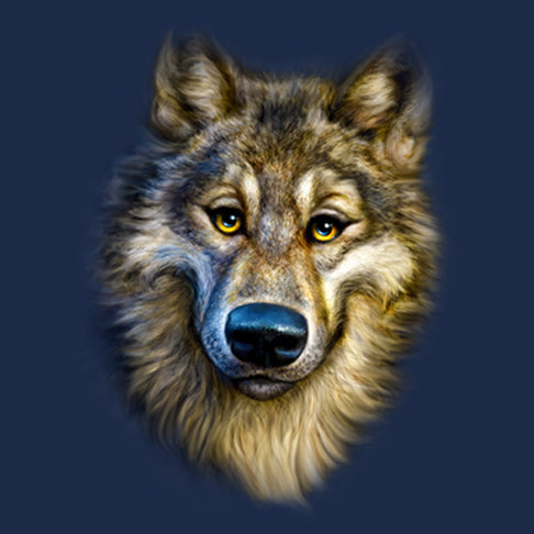 Wolf Totem by Patrick LaMontagne - painting of a humanized wolf face smiling