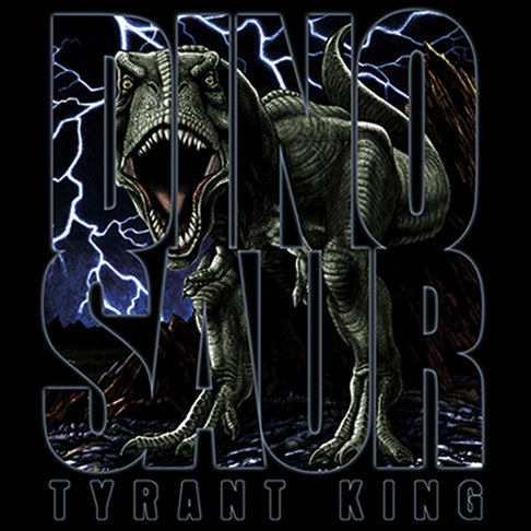 Tyrant King - painting of a threatening T-Rex with lightning bolts