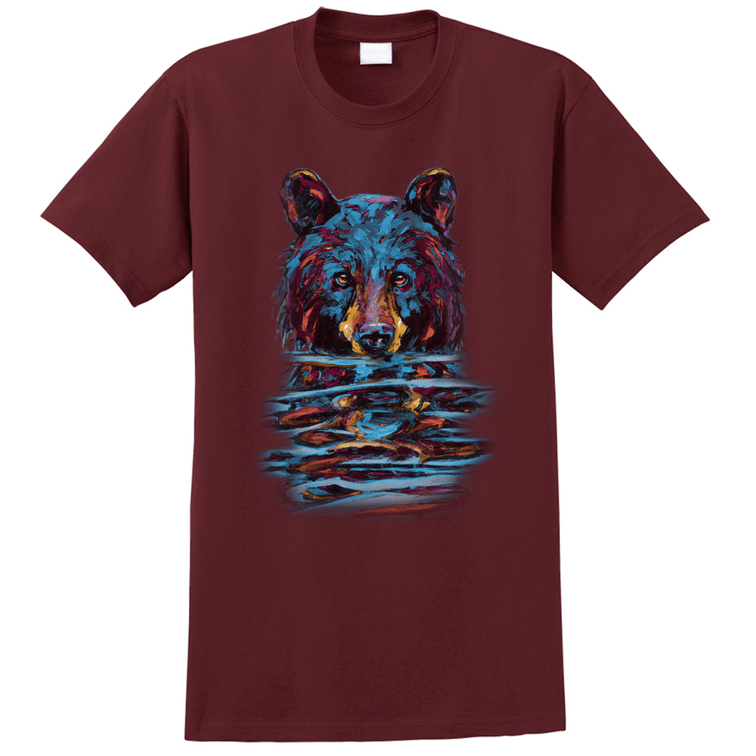 Very Wet Bear T-shirt - maroon T-shirt with black bear art by Canadian nature artist Kari Lehr