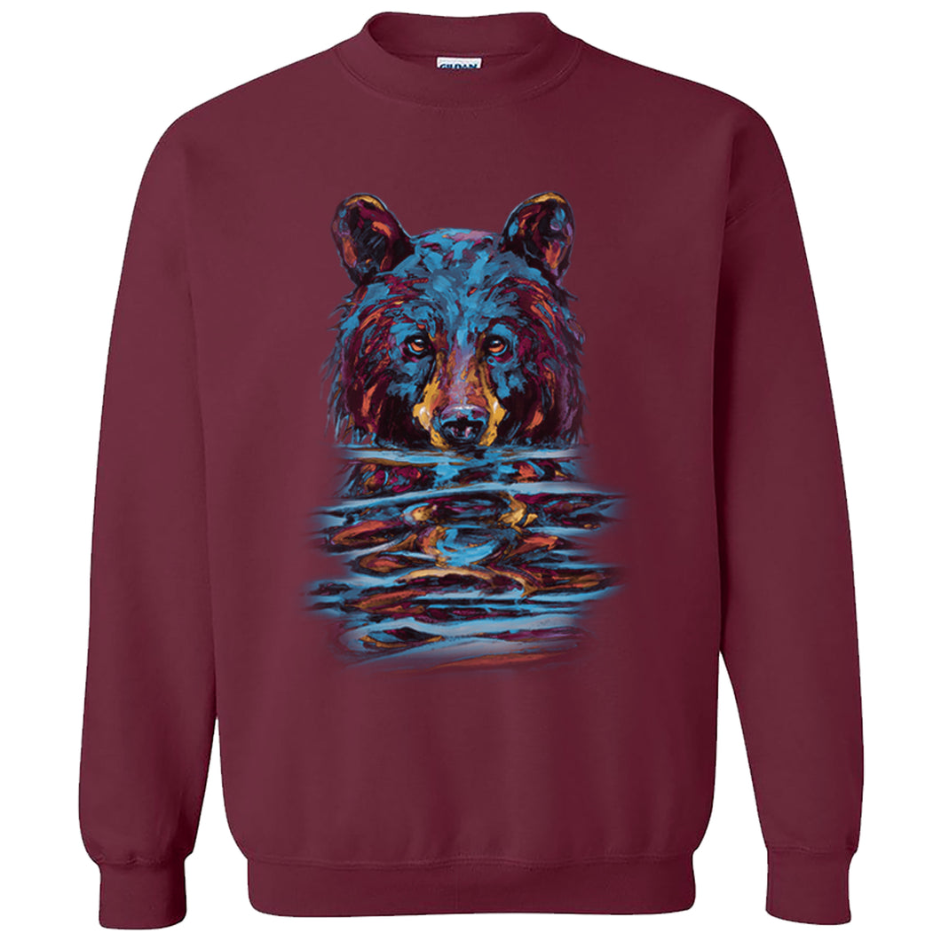 Very Wet Bear Crewneck - maroon crewneck sweatshirt with black bear art by Canadian nature artist Kari Lehr