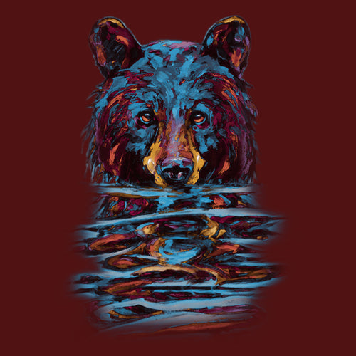 Very Wet Bear by Kari Lehr - painting of a colorful black bear emerging from water