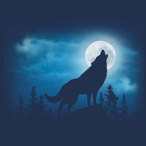 Wolf Silhouette by Eric Blais - painting of a wolf howling in front of the moon