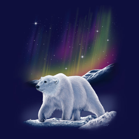 Aurora Polar Bear by Eric Blais - painting of polar bear with Northern Lights in the background