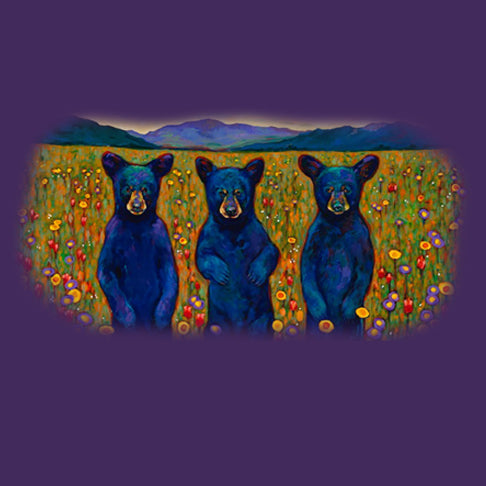 Bears Of A Feather by Kari Lehr - painting of 3 bear cubs in a meadow