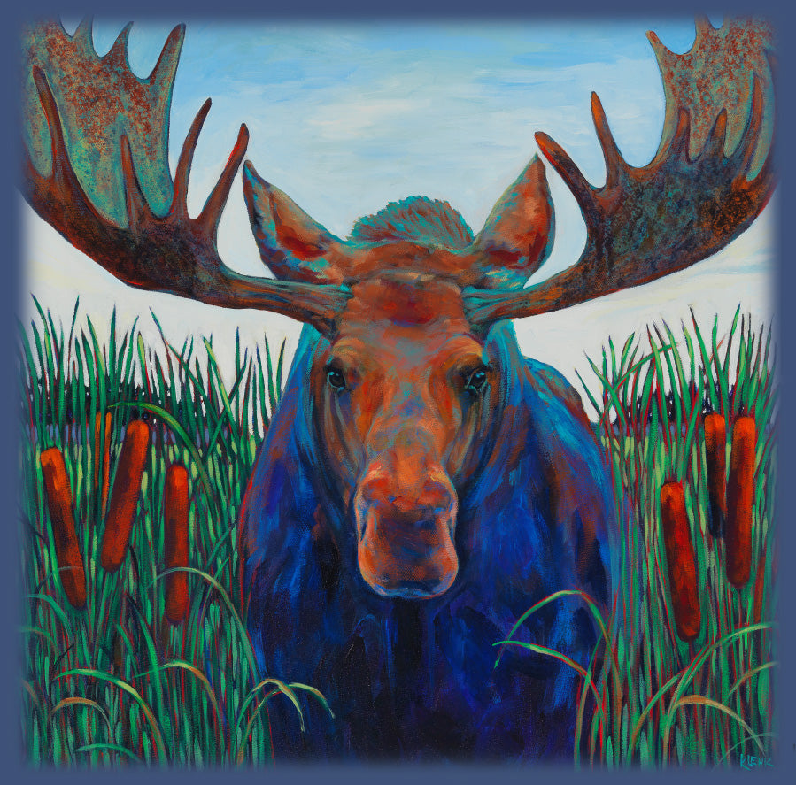 Bull Rush Moose by Kari Lehr- artwork feature moose standing in the bull rushes