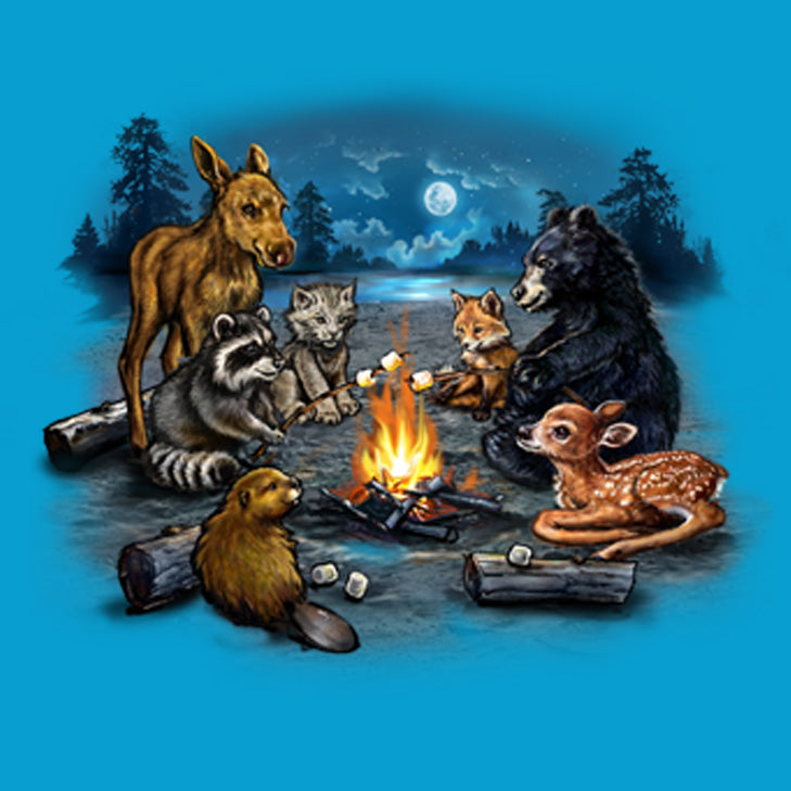 Campfire Critters by Tami Alba - Painting of baby animals toasting marshmallows around a campfire