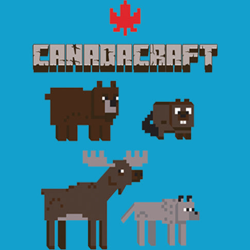 Canada Craft - painting of bear, moose, wolf and beaver
