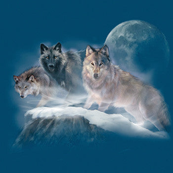 Cliffhangers by Robert Campbell - painting of  three wolves standing on a cliff with moon in background