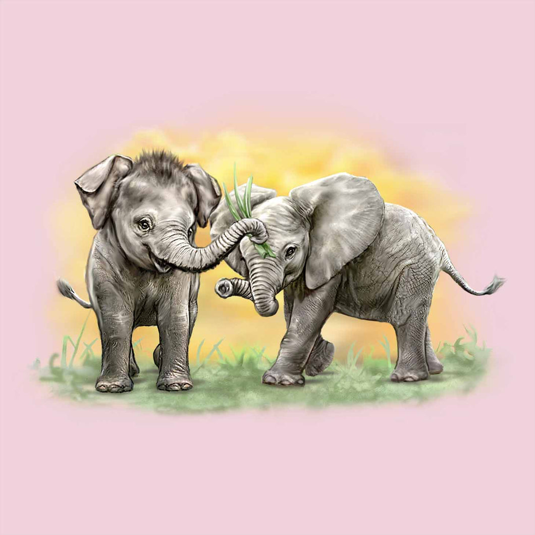 Cousins - painting of two baby elephants playing