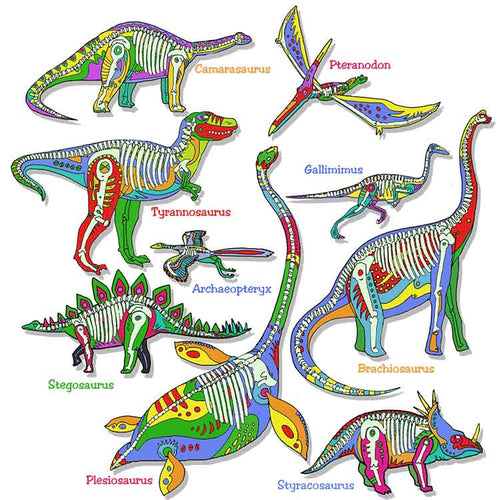 Glowing Dinos - painting of colorful dinosaurs that glow in the dark