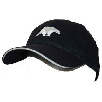 Polar bear hat- black hat with white sandwich peak embroidered with polar bear design on the front