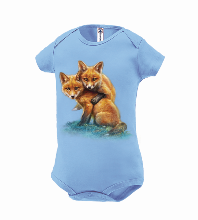 Fox Kits by Tami Alba- Artwork of two your foxes on a sky blue onesie