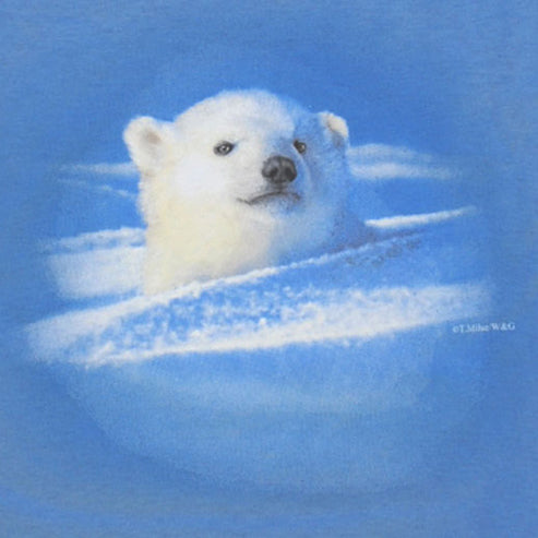 First Outing - painting of polar bear cub playing in the snow