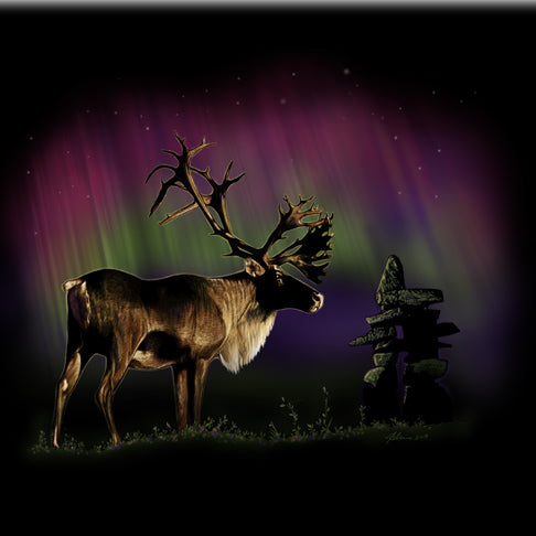 Inukshuk Caribou by Eric Blais - painting of a caribou, Inukshuk and northern lights