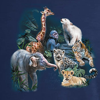 Jungle Love - painting of exotic baby animals