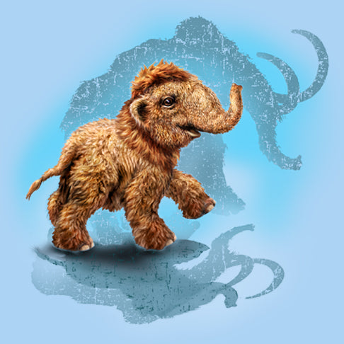 Little Mighty Mammoth - painting of baby mammoth wth it's mother's shadow in the background