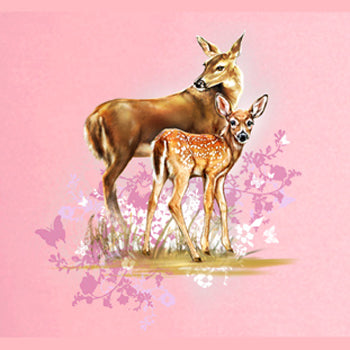 Mommy Deerest by Tami Alba - painting of a mother and baby deer