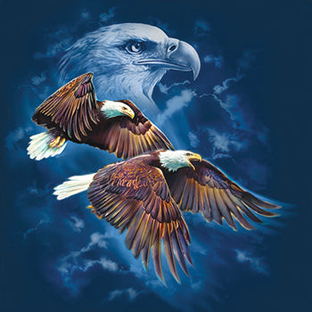 Night Flyers by Tami Alba - painting of eagles flying with eagle portrait in the background
